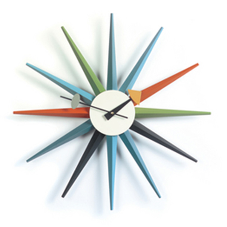 Vita Sunburst Clock i multifarvet