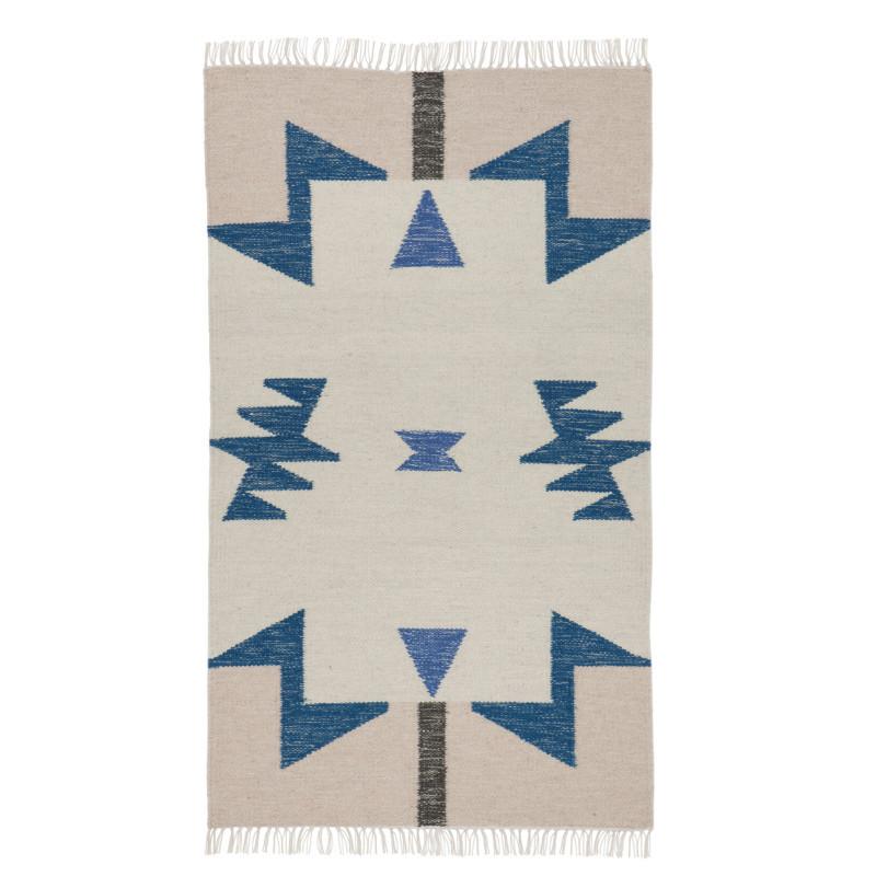ferm living kelim rug blue triangles. Black Bedroom Furniture Sets. Home Design Ideas