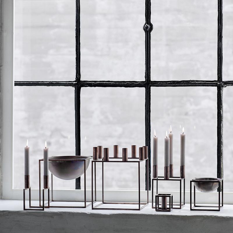 by lassen kubus 4 lysestage bruneret kobber. Black Bedroom Furniture Sets. Home Design Ideas