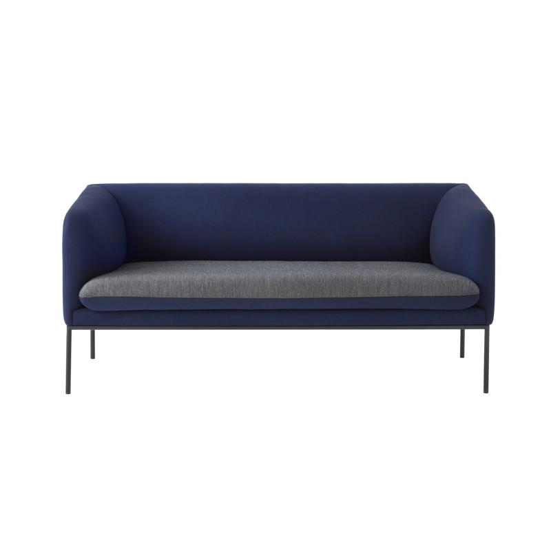 Ferm Living Turn Sofa Wool Dark Blue Seat Light Grey (2 personer)