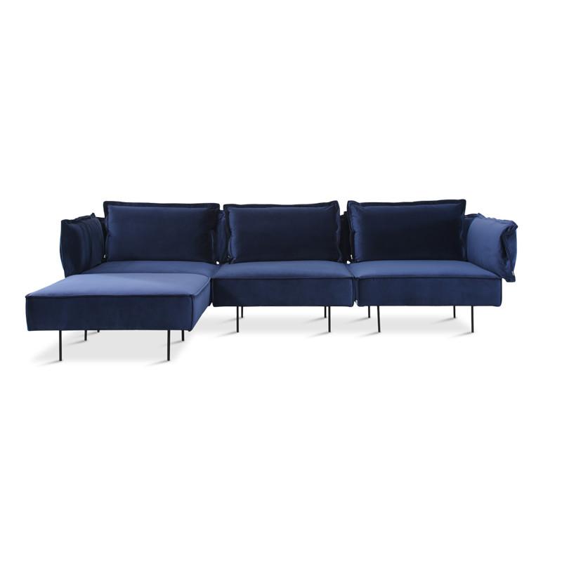 Handvärk 3 Personer Sofa Med Chaiselong Royal Blå