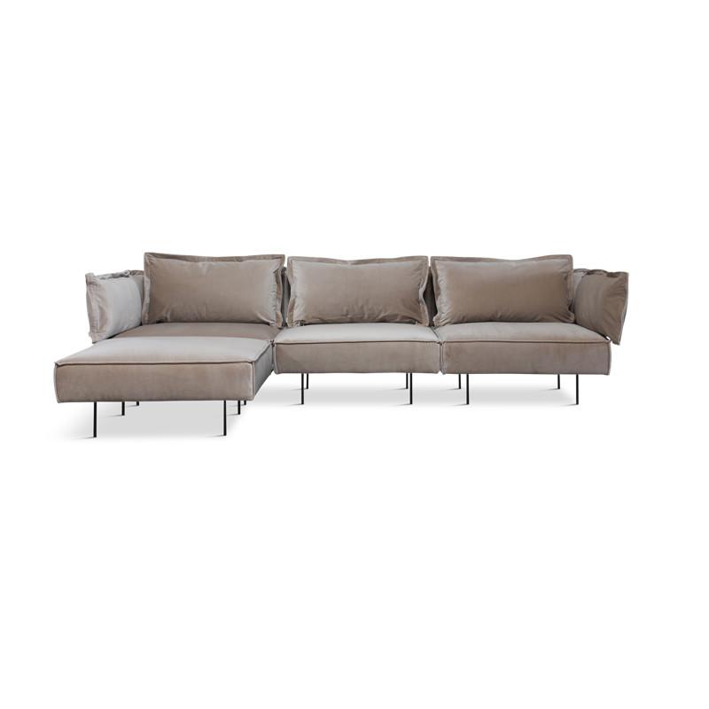 Handvärk 3 Personer Sofa Med Chaiselong Sand