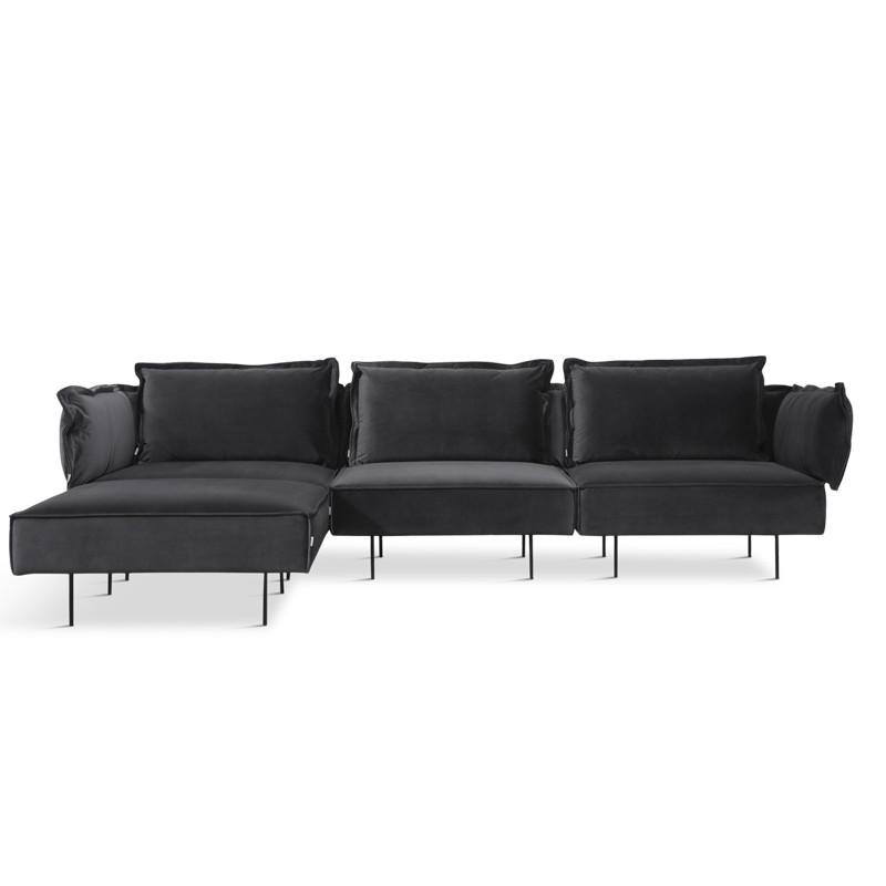 Handvärk 3 Personer Sofa Med Chaiselong Mørk Grå