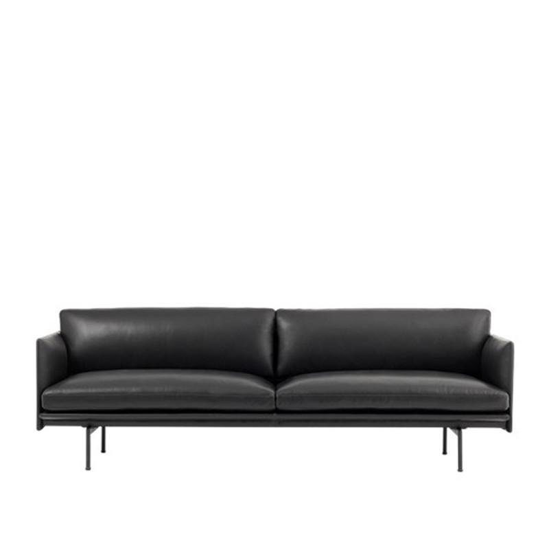 Muuto Outline Sofa 3 personer Læder Sort