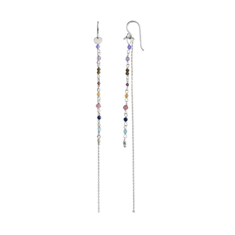Stine A Petit Gemstones with Long Chain Earring Silver - Berry Mix