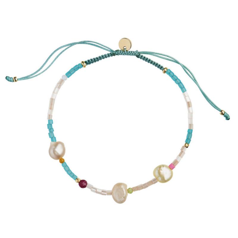 Stine A Deep Sea Oceanblue And Soft Nude Stones And Oceanblue Ribbon Armbånd