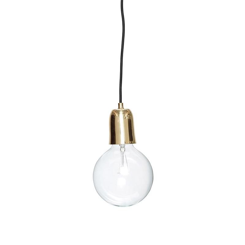 Alle nye Messing lampe fra Hübsch - Fin lampe med sort ledning - Find din UV-77