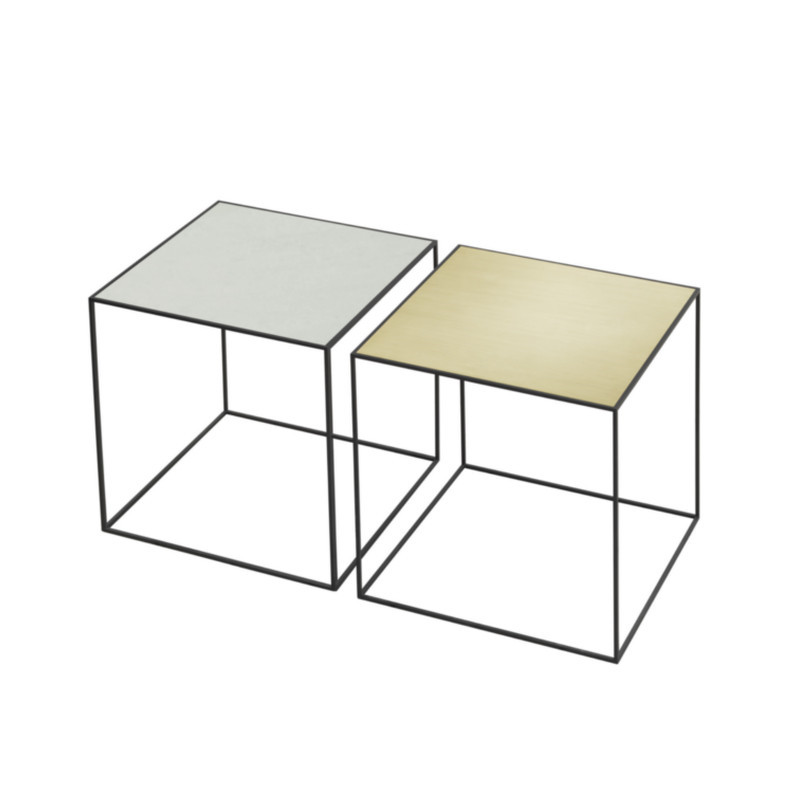 Twin bord fra By Lassen med vendbar bordplade i messing eller misty ...