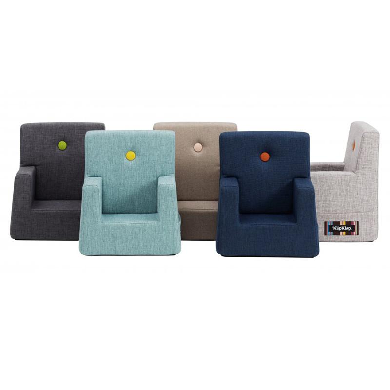 klipklap stol By KlipKlap Kids Chair Varm grå m. peach knap klipklap stol