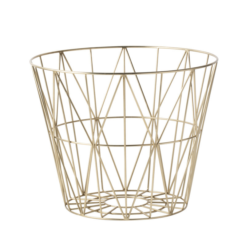 ferm living wire basket messing v lg mellem tre st rrelser. Black Bedroom Furniture Sets. Home Design Ideas
