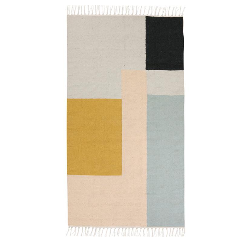 ferm living kelim rug t ppe squares small hurtig levering. Black Bedroom Furniture Sets. Home Design Ideas