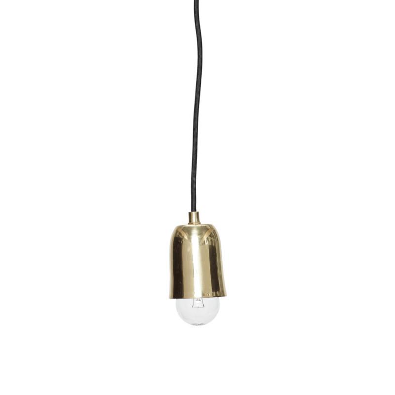 messing lampe fra h bsch fin lampe med sort ledning. Black Bedroom Furniture Sets. Home Design Ideas