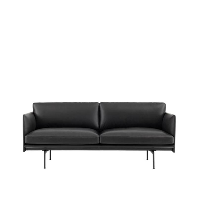 Muuto Outline Sofa 2 personer Læder Sort