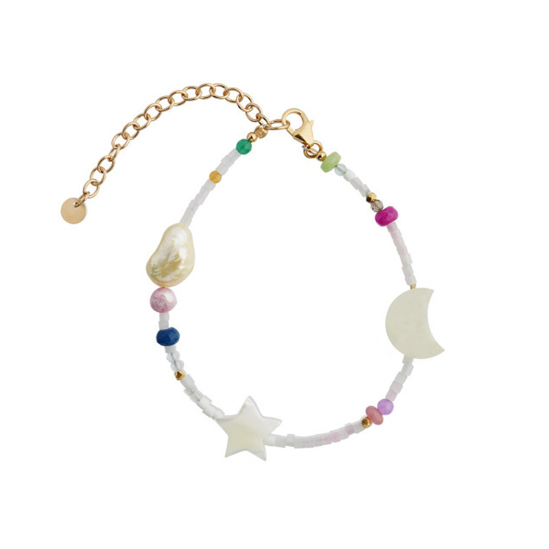 Stine A Armbånd White Midnight Bracelet with Moon, Star and Multicolor Stones
