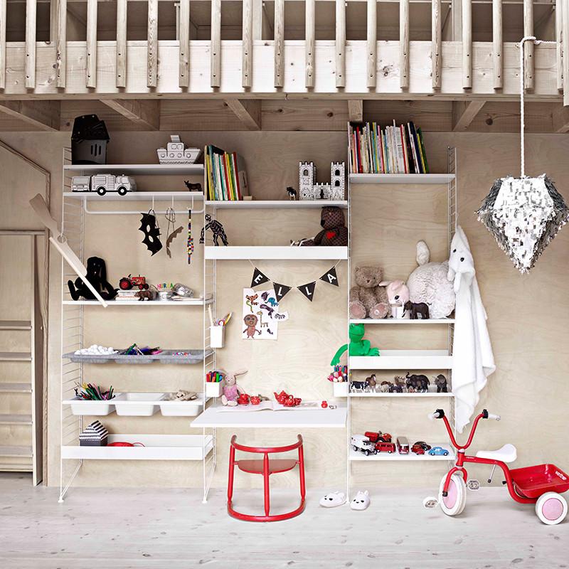 String reol med hylder, opbevaring og skrivebord - Perfekt reol til ...