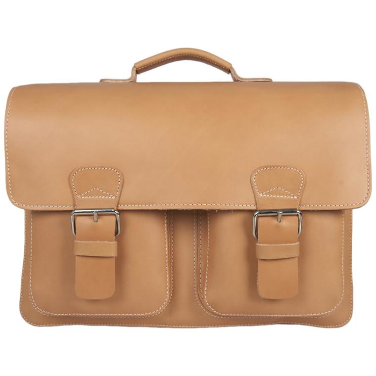 Ruitertassen skoletaske i læder m. 3 rum