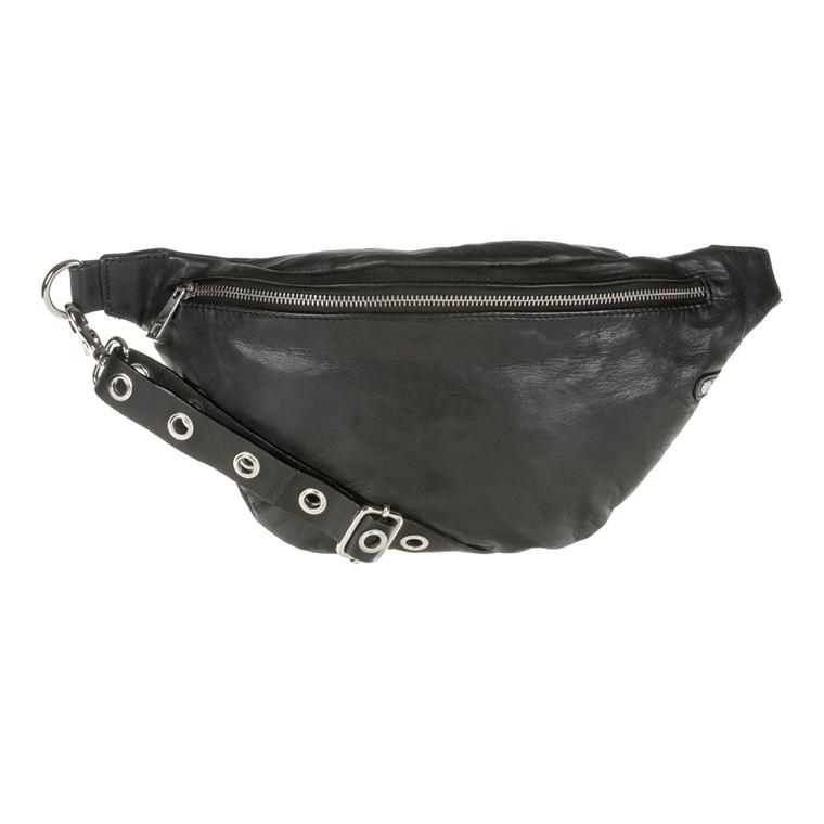 Depeche bæltetaske i skind med hulnitter