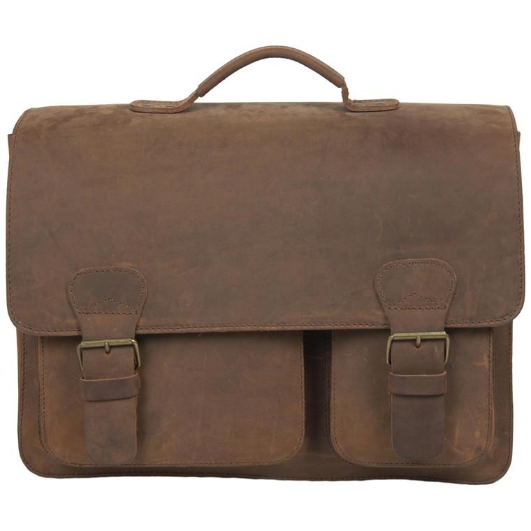 Ruitertassen skoletaske i støvlelæder m. 3 rum