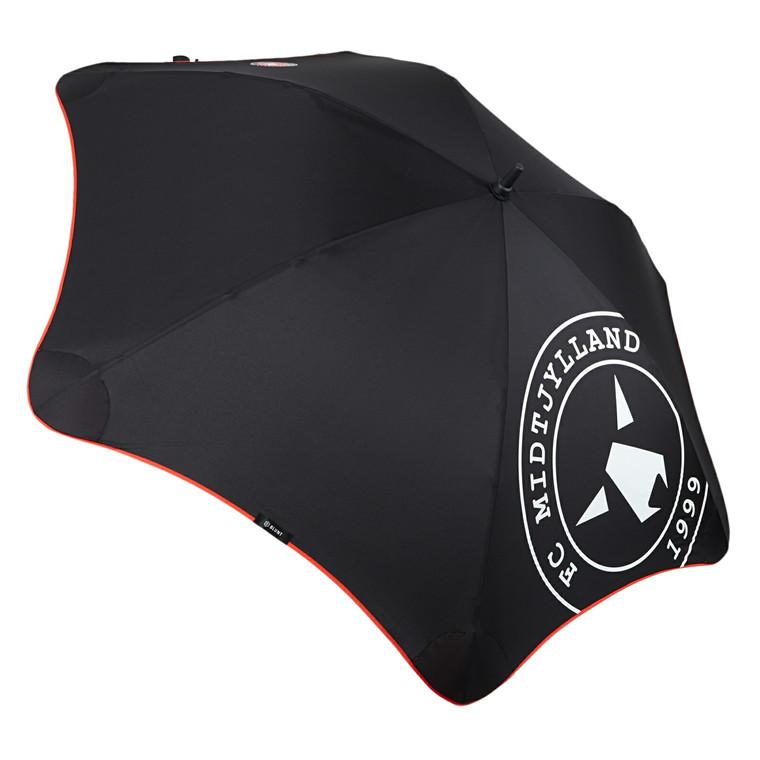 Blunt lang paraply med skulderrem