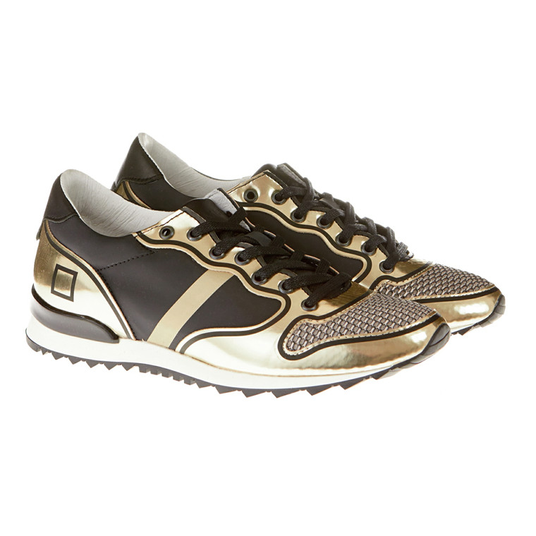 D.A.T.E Boston Laminated sneakers m/guld