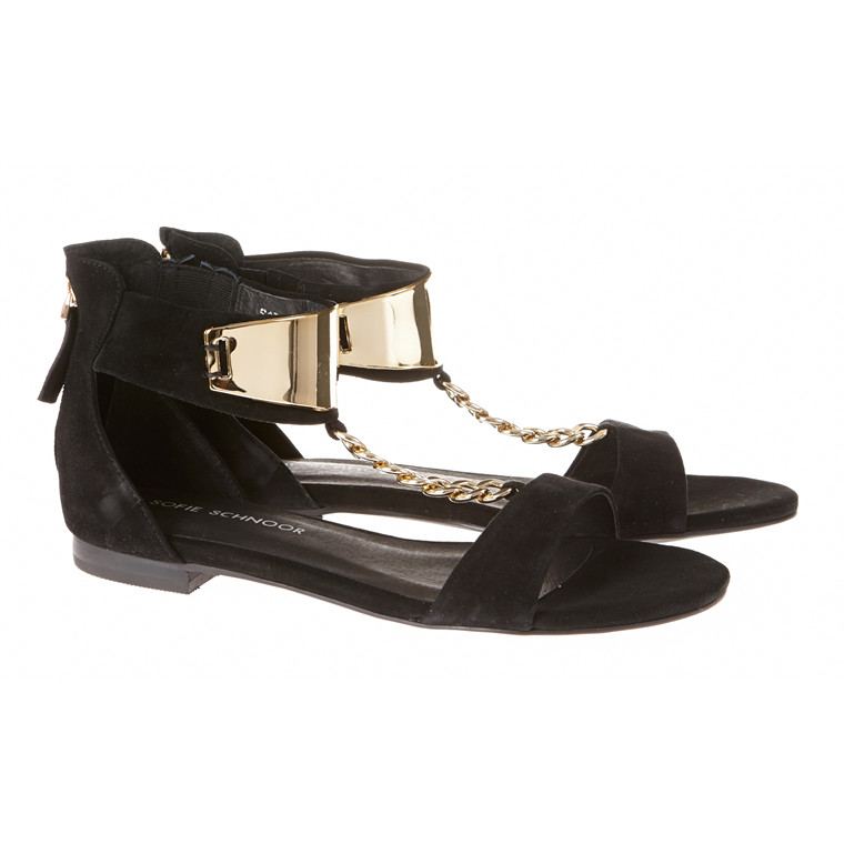Sofie Schnoor ruskind sandal med guldkæde