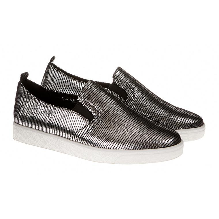 Sofie Schnoor loafers i skind og sølv