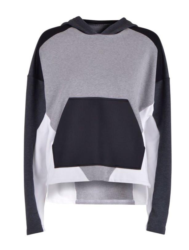 Hættetrøje | grå/sort/hvid