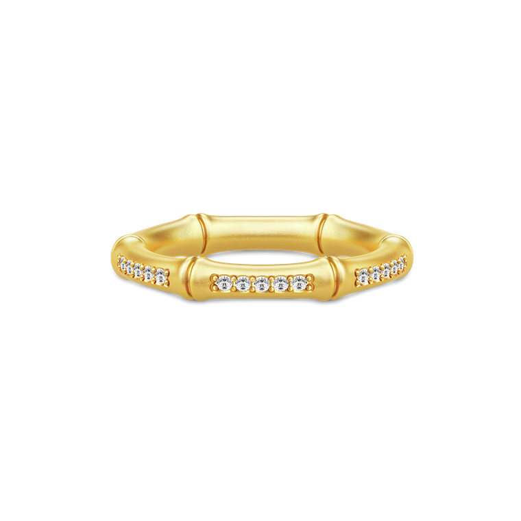 Julie Sandlau Bamboo ring RI116 GD CZ