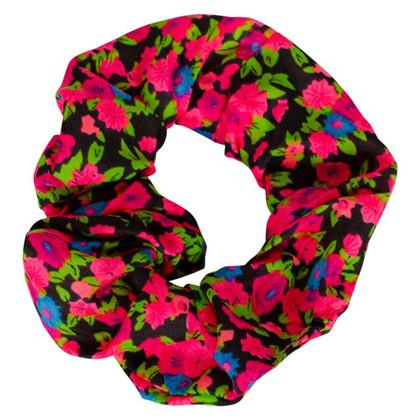 HA200 Højtryk Blomster Scrunchie  SORT