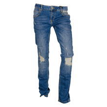 2180819 Hound Straight Jeans Ripped MELLEMBLÅ