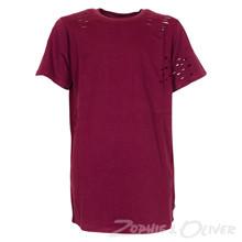 4505155 DWG Mick 155 Ripped t-shirt BORDEAUX