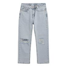 2133-108 Grunt Mom Doop Damage Jeans LYS BLÅ