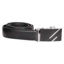 BT020 Højtryk Striped Leather Belt SORT