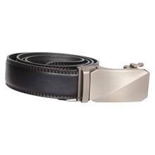 BT020 Højtryk Mat Sølv Leather Belt SORT