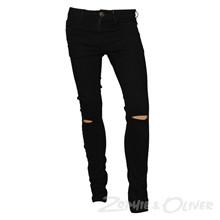 2-2777 Queenz Clean Knee Cut Jeans SORT