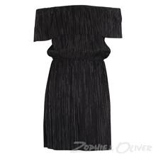 2908 Queenz Plisseret kjole  SORT