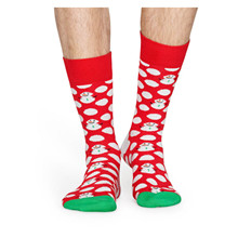 BDS01Happy Socks Big Dot Snowman RØD