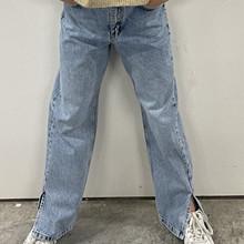 2213-111 Grunt Ritt Slit Jeans Mellemblå