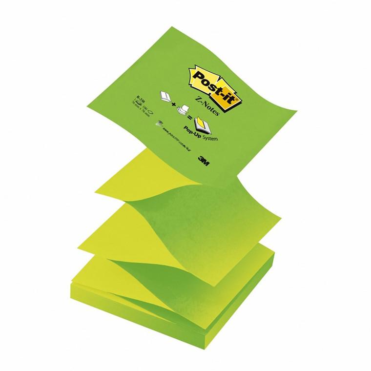 Post-it blok z-notes  76x76 mm. grøn 12 blokke