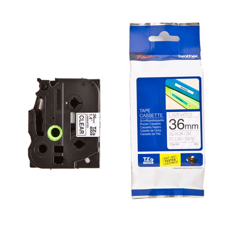 Brother labeltape TZe 161 - Sort/klar 36 mm x 8 m