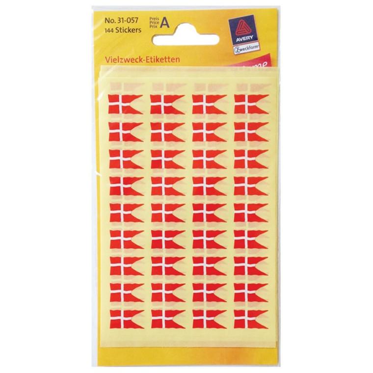 Flag dansk etiket - 144 stk. 9x16