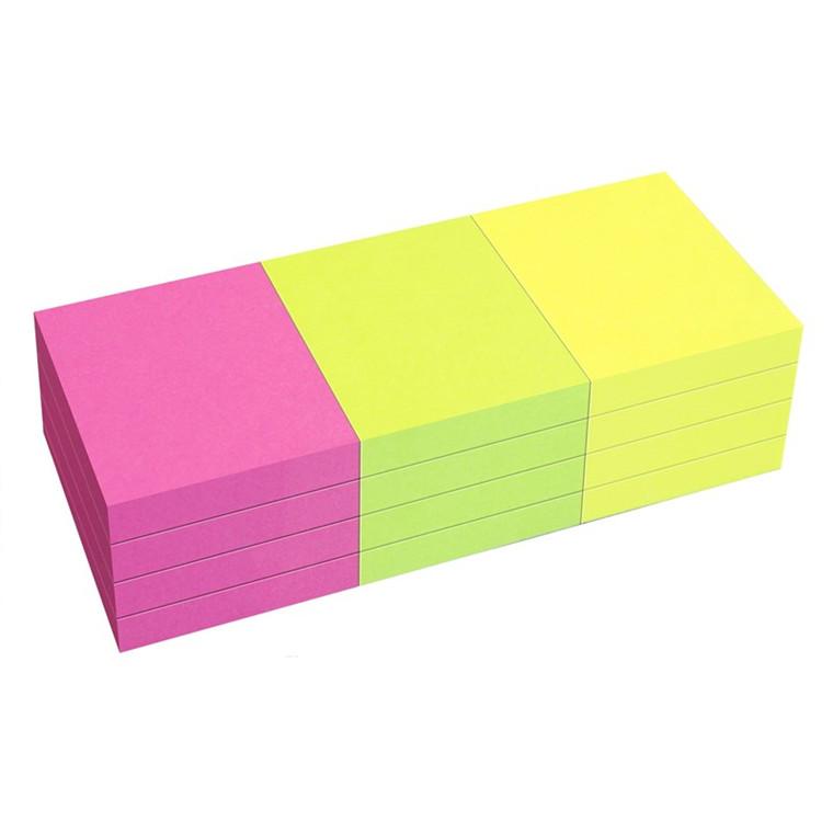 Selvklæbende blokke (Notes) 40 x 50 mm. i neonfarver, 12 blokke