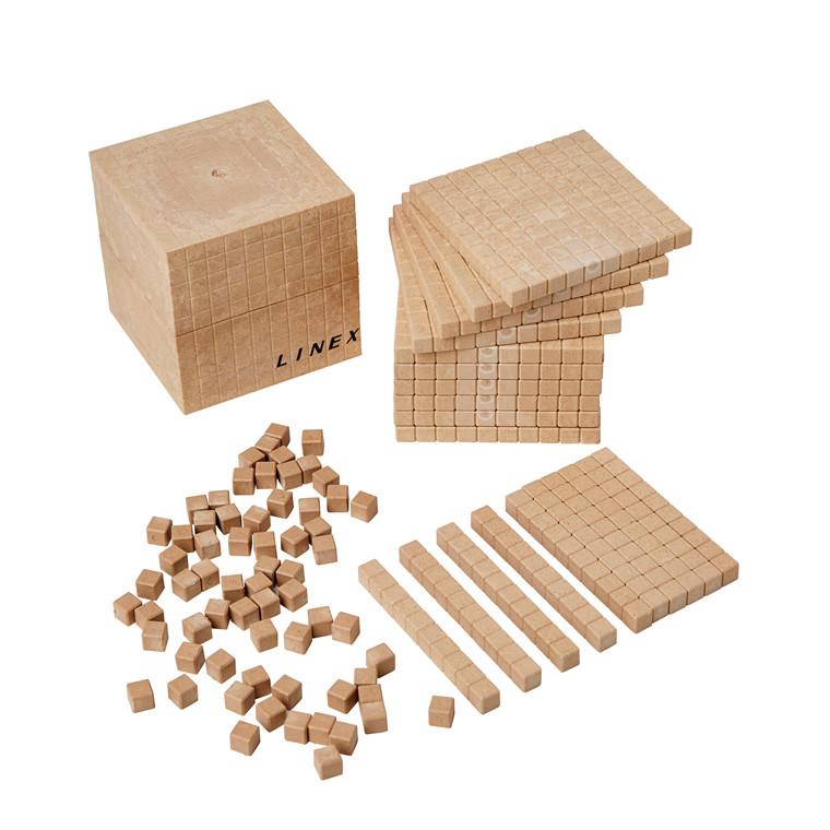 Linex 10-talssystem 121 dele - 10 sæt, genanvendt træ