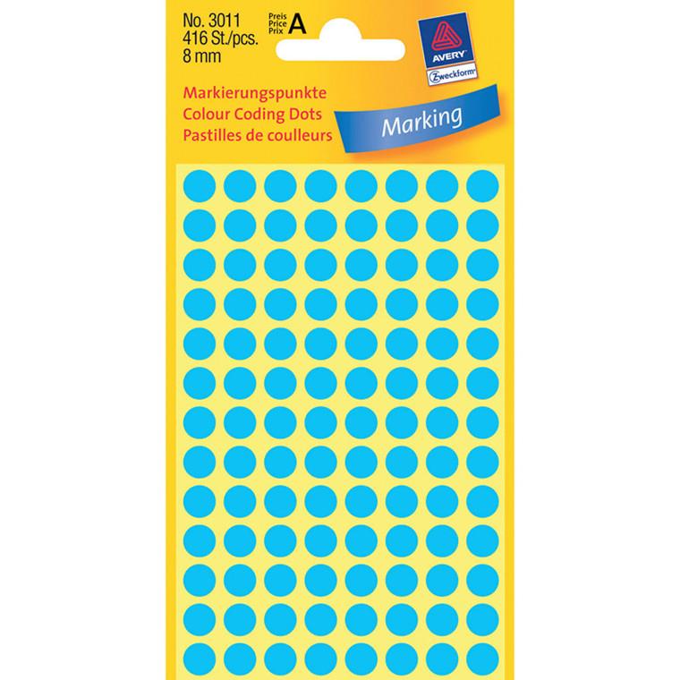 Avery etiketter 3011 - ø12 mm, Blå
