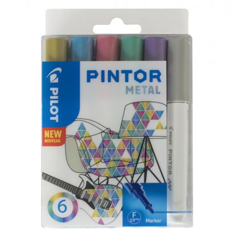 Pilot Pintor Marker - Metal, Fine, 6 ass.