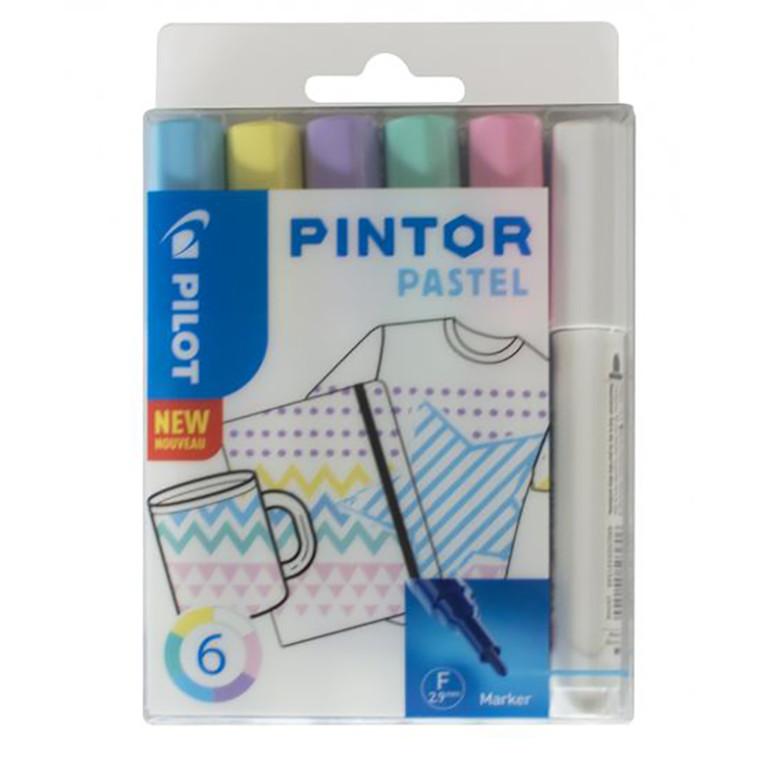 Pilot Pintor Marker - Pastel, Fine, 6 ass.