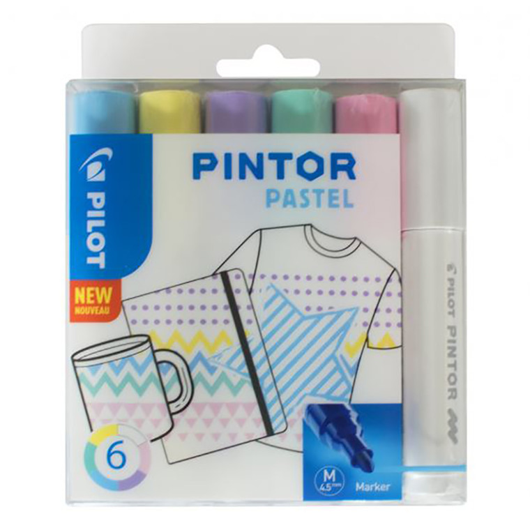 Pilot Pintor Marker - Pastel, Medium, 6 ass.