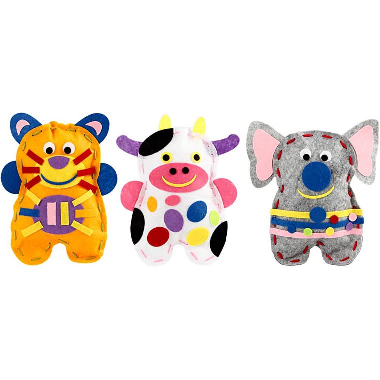 Felt Friends, kat, ko, elefant, 18 sæt