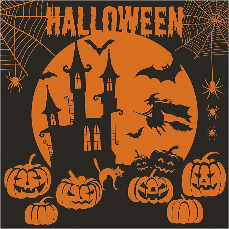 Halloween servietter nat - Str. 33 x 33 cm, Sort/Orange, 20 stk.