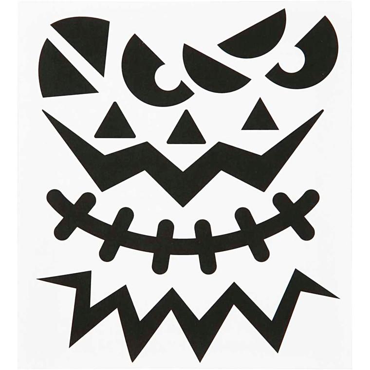 Motivstickers, ark 15x16,5 cm, halloween - store ansigter, 1 ark